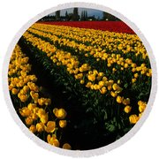 Tulip Fields Forever Round Beach Towel