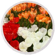 Tulip Flowers Festival Art Prints Floral Baslee Round Beach Towel