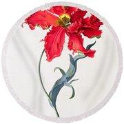 Tulip Perroquet Rouge Round Beach Towel