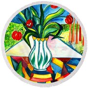 Tulips And A Pear Round Beach Towel