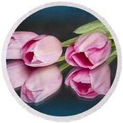 Tulips And Reflections Round Beach Towel