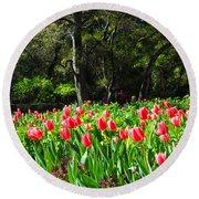 Tulips And Woods Round Beach Towel