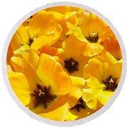 Tulips Art Prints Yellow Tulip Flowers Floral Round Beach Towel
