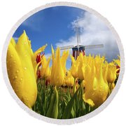 Tulips In A Field And A Windmill At Round Beach Towel