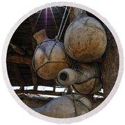 Tumacacori Gourds Round Beach Towel