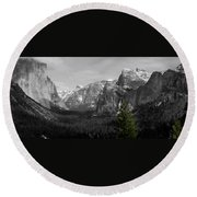 Tunnel View Selective Color Round Beach Towel