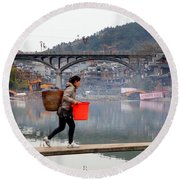 Tuojiang River In Fenghuang Round Beach Towel