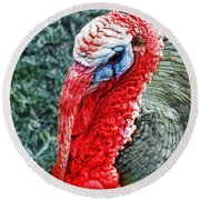 Turkey Brawn  Round Beach Towel