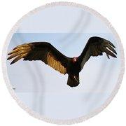 Turkey Vulture Evening Flight Round Beach Towel