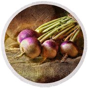 Turnips Round Beach Towel