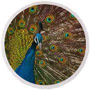Turquoise And Gold Wonder Round Beach Towel