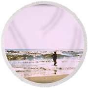 Turquoise Bathing Suit Round Beach Towel