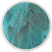 Turquoise Blue Feathers Round Beach Towel