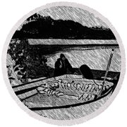 Turr Hunt Sketch Round Beach Towel