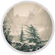 Turret In Snow Round Beach Towel by Silvia Ganora