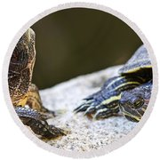 Turtle Conversation Round Beach Towel
