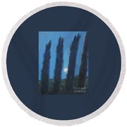 Tuscan Cyprus Trees Round Beach Towel
