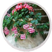 Tuscan Earthenware Pot And Flowers Round Beach Towel