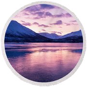 Twilight Above A Fjord In Norway With Beautifully Colors Round Beach Towel
