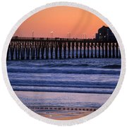 Twilight At Imperial Pier Round Beach Towel