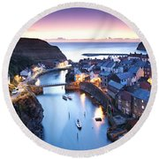 Twilight Glow Staithes Round Beach Towel