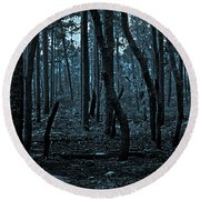Twilight In The Smouldering Forest Round Beach Towel