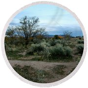 Twilight Near Santa Fe Round Beach Towel