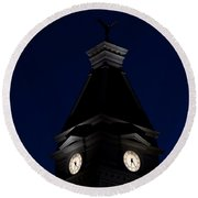 Twilight View Of Clock At Clarksville Historic Courthouse  Round Beach Towel
