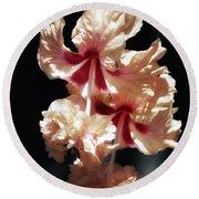 Twin Beauty Hibiscus Round Beach Towel
