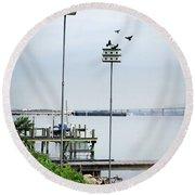 Twin Birdhouses Round Beach Towel
