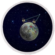 Twin Grail Spacecraft Map The Moons Round Beach Towel