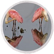 Twins Spoonbills On The Lake Round Beach Towel