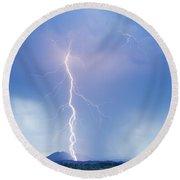 Twisted Lightning Strike Colorado Rocky Mountains Round Beach Towel