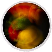 Twisting Peppers Round Beach Towel