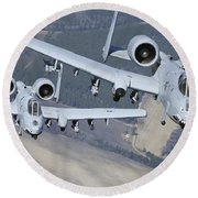 Two A-10c Thunderbolt II Aircraft Fly Round Beach Towel