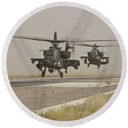 Two Ah-64 Apache Helicopters Prepare Round Beach Towel