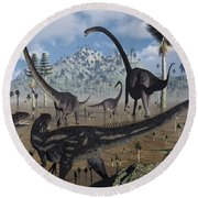 Two Allosaurus Predators Plan Round Beach Towel