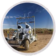 Two Astronauts Take A Ride On Scout Round Beach Towel