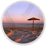 Two Beach Umbrellas Round Beach Towel