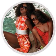Two Beautiful Women In Dresses At The Pool Round Beach Towel by Oleksiy Maksymenko