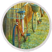 Two Bicyles Round Beach Towel