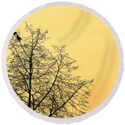 Two Birds In A Tree Round Beach Towel