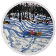 Two Boys Falling Off A Sledge Round Beach Towel