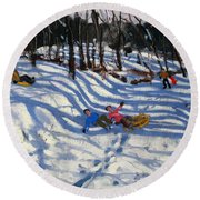 Two Boys Falling Off A Sledge Round Beach Towel by Andrew Macara