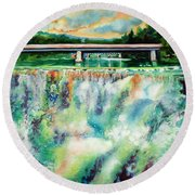 Two Bridges And A Falls 2          Round Beach Towel