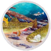 Two Brook Trout Round Beach Towel