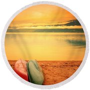 Two Canoes Round Beach Towel