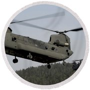 Two Ch-47 Chinook Helicopters In Flight Round Beach Towel