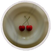 Two Cherries On A Plate Round Beach Towel