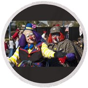 Two Clowns Round Beach Towel